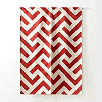 [Unusual] のれん 北欧 赤白 暖簾 カーテン 幾何模様 2サイズ選べる のれん棒付き 個性 約85*120cm