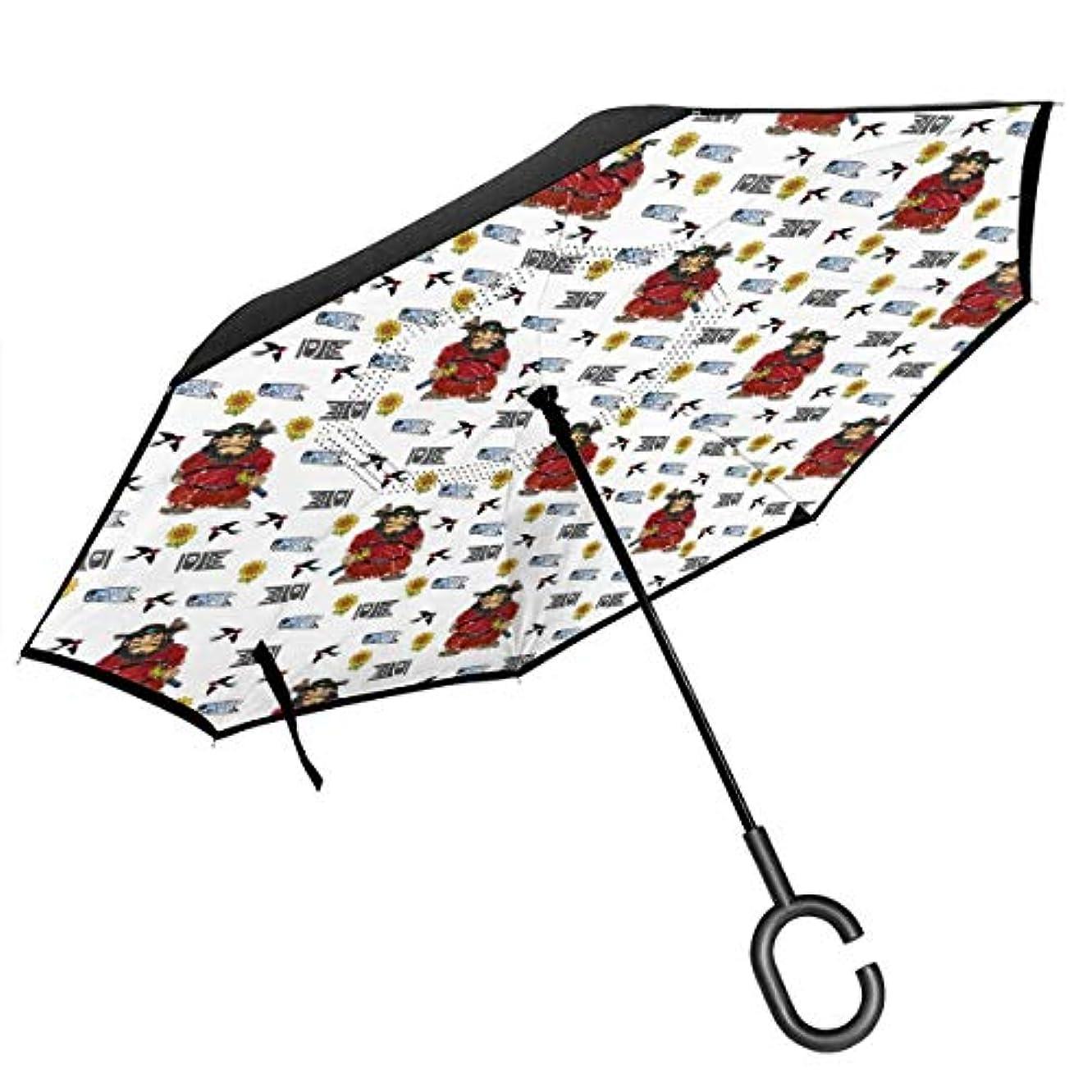 脊椎リーガン肥沃な長傘 逆折り式傘 車用傘 閉じると自立可能 耐風 撥水 遮光遮熱 コーティング C型手元 UVカット 8本骨 晴雨兼用 神様