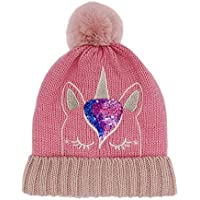 xperry Little Girls Winter Sequin Unicorn Beanie Hat with Pom Pom Knit Cap for Kids Baby Toddler