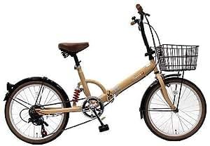 トップワン(TOP ONE) 20インチ折畳み自転車 シマノ外装6段ギア リアサスペンション カゴ・カギ・ライト付 モカ FS206LL-37-MO ブラック・モカ・オリーブ・パールホワイト・レッド・ターコイズブルー