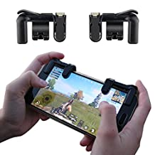 Quano Fortnite PUBG Mobile Game Controller, Sensitive Shoot and Aim Buttons L1R1 Best for PUBG, Knives Out, Rules of Survival, Critical Ops, Fortnite, 1 Pair Black Controller for Android/iOS