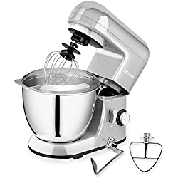 CHEFTRONIC Stand Mixer SM-985, 550W 6 Speeds Tilt-head Kitchen Electric Mixer 4.2 Quart Stainless Steel Bowl with Pouring Shield for Mother's Day, Xmas, Wedding, Thanksgiving, Birthday Gift (Silver)