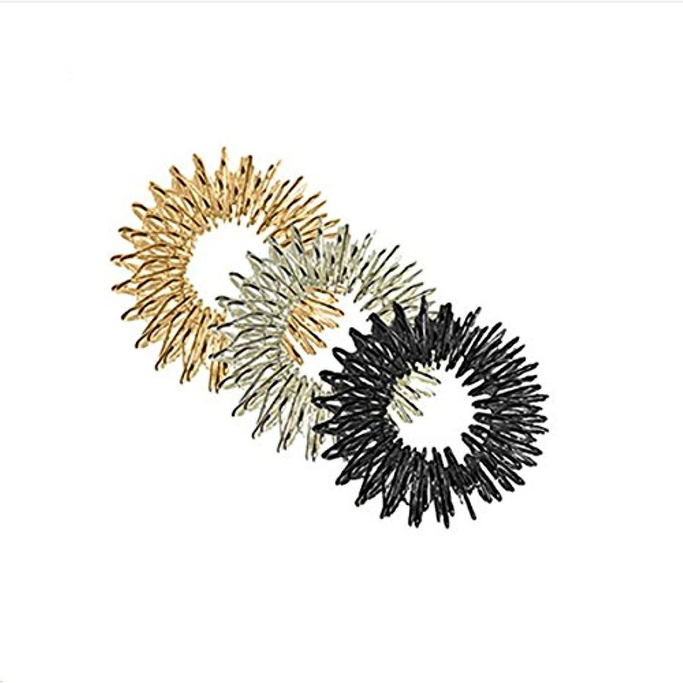 ピルファーパウダー賞賛ULTNICE マッサージリング 指圧マッサージャー 3個セット(ゴールド/シルバー/ブラック)