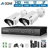 A-ZONE 200万画素タイプ 1080P DVR 4台防犯カメラ可能 監視カメラ 動体検知録画 屋内/屋外