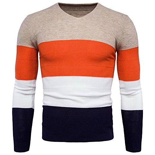 Men's Casual Fashion V-neck Knitted Sweater Assorted Color Gauge Knitwear(Khaki M)