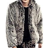Hee Grand メンズ模造キツネの毛皮の襟の冬コートジャケット L