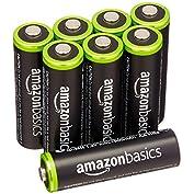 Amazonベーシック 充電式ニッケル水素電池 単3形8個パック (最小容量1900mAh、約100...