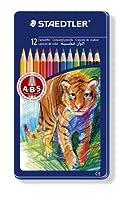 12Steadtler Noris ABS Colouring鉛筆でライオンモチーフTin 145am12
