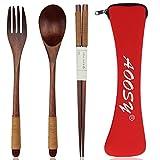 カトラリー スプーン フォーク 箸 箸袋4点セット 抗菌 AOOSY通勤用食器セット 弁当用 携帯便利 学生用
