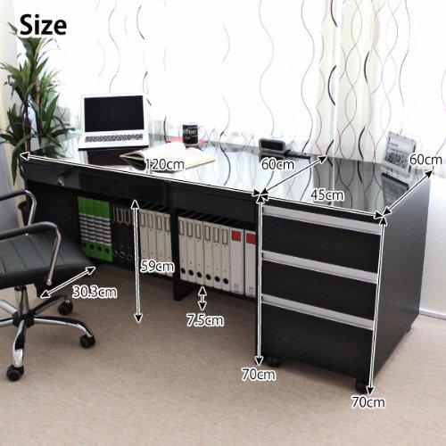 パソコンデスク 書斎机 鏡面 120cm幅 大型3段チェスト セット ブラック SAV011