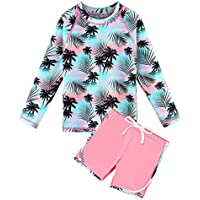 TFJH E Girls Long Sleeve Swimsuits Rashguard Sets Sunsuits UV 50+ Two Piece 3-12Y