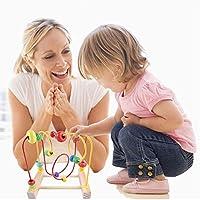 Kasstino 木製ベビー数学玩具 円数数ビーズ アバカスワイヤー迷路ローラーコースター