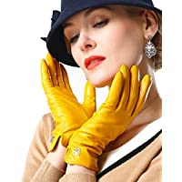 NappaNovum Women's Classic Italian Nappa Leather Gloves Lambskin Winter Comfort Lining Fashion Gloves (Touchscreen or Non-Touchscreen) (M Bright Yellow)