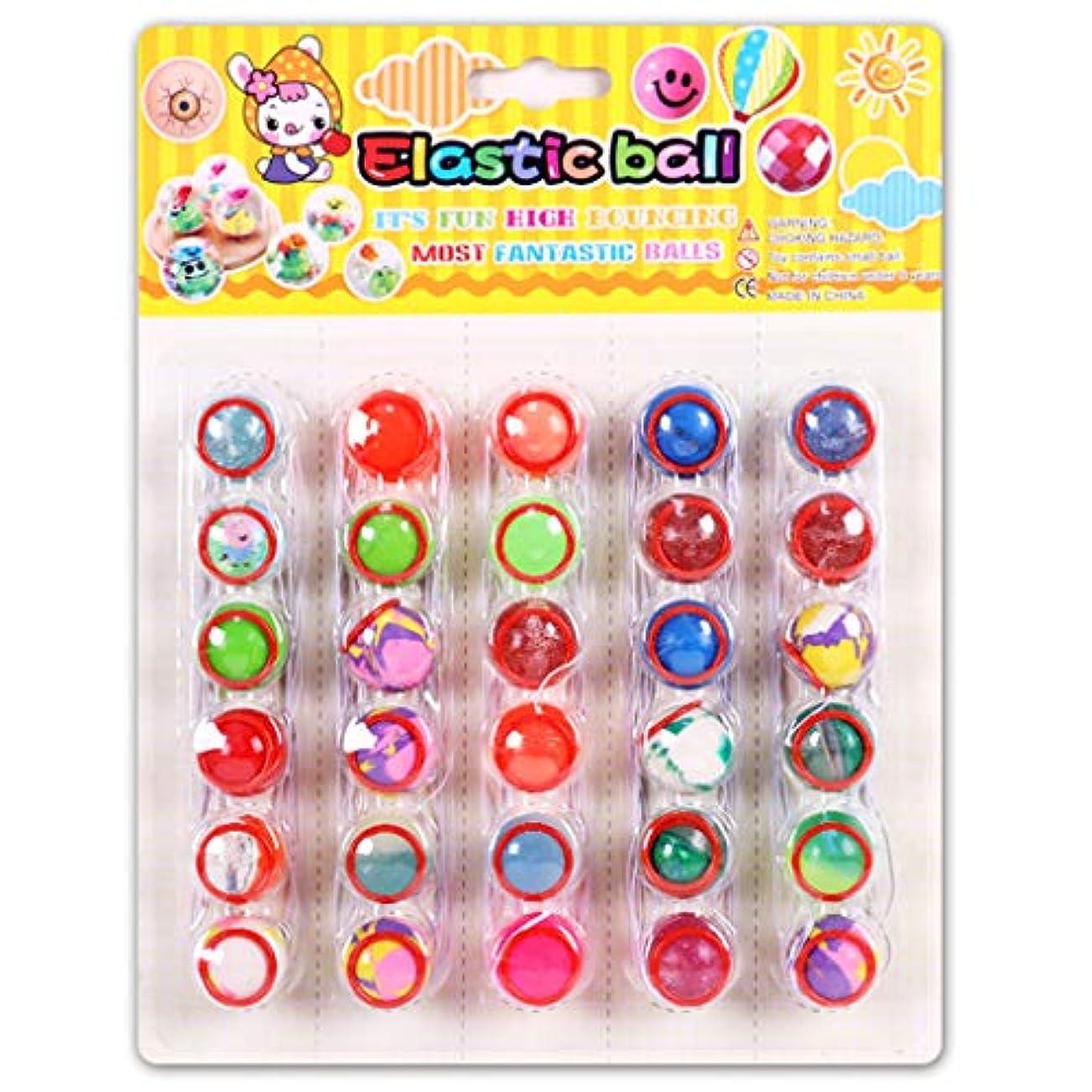 遺伝的シリンダー円形Fmingd 面白い小さな弾力ボール6個セット ゴムロープリング付き 紛失しないゴムボール 子供のおもちゃギフト