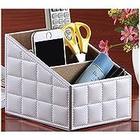 卓上収納 小物収納ボックス PUレザーボック ス収納ケース リモコンラック 高級感 5種類 (ホワイト)