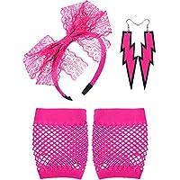 Blulu 80's Lace Headband Neon Earrings Fingerless Fishnet Gloves for 80's Party