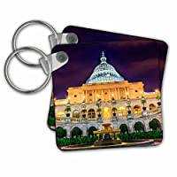 3drose Danita Delimont–ワシントンDC–Fountain in front of the米国議会議事堂、ワシントンDC–キーチェーン set of 2