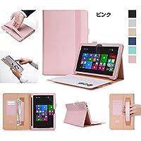 TransBook Mini T102HA ケース 手帳型 レザー シンプル ベーシックなデザイン トランスブックミニ 手帳型レザーケース-1 (ピンク)