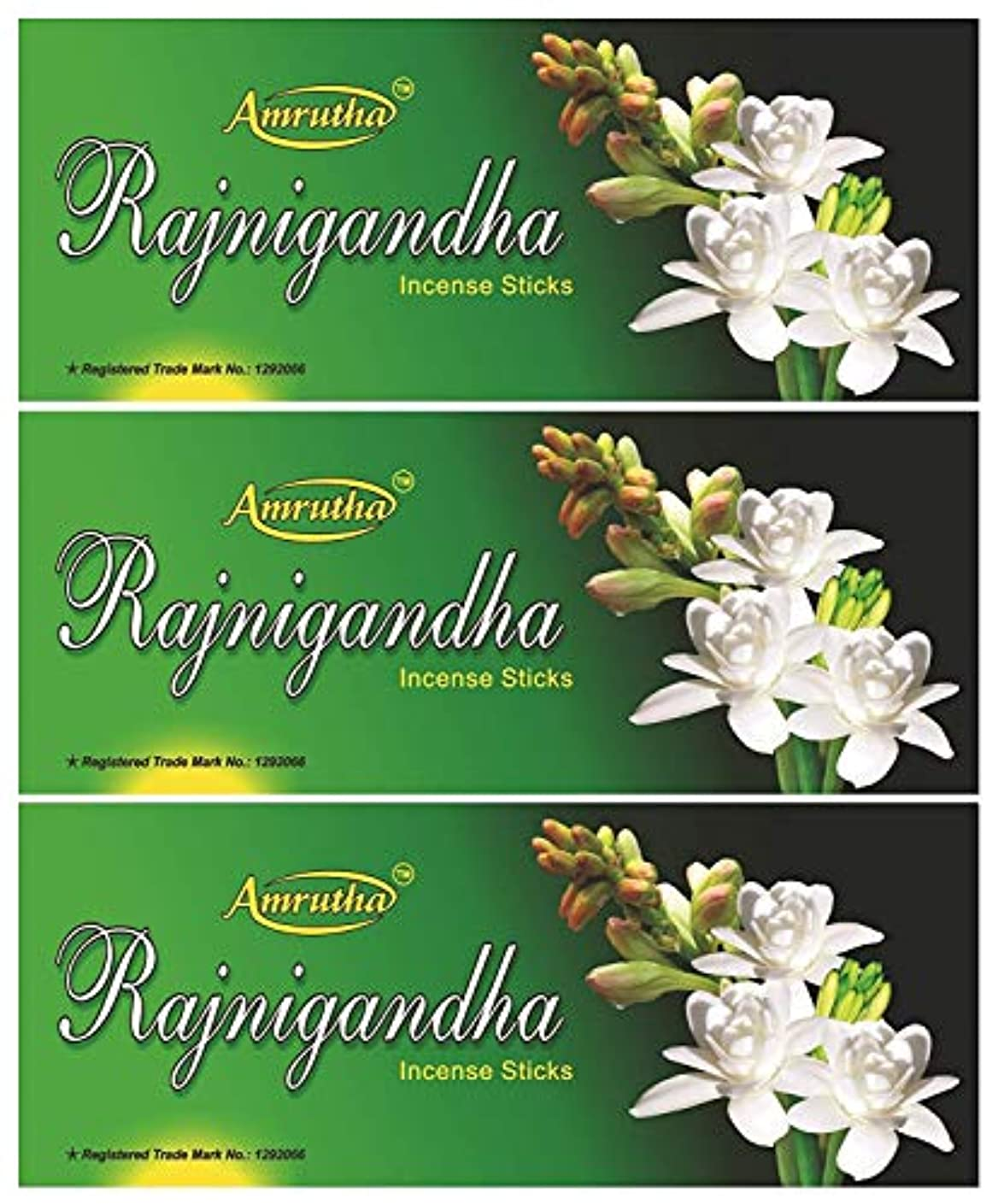 ずらす彼精通したAMRUTHA PREMIUM INCENSE STICKS Rajnigandha Incense Sticks (100g, Black) - Pack of 3
