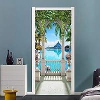Xbwy 現代の海辺の風景バルコニー写真壁画壁紙リビングルームの寝室のドアのステッカーPvc自己接着防水壁紙-350X250Cm