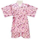 アスナロ(甚平) 甚平 キッズ 女の子 子供 桜柄 プリント 和柄 綿100% 上下セット100 ピンク
