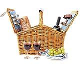 Roots & Beach ルーツアンドビーチ 2人用 ピクニックバスケット ピクニックセット ミニクーラーバッグ カトラリー お皿 ワイングラス ボトルオープナー 布ナプキン付き Hamper Wicker Picnic Baskets for 2 People キャンプ ピクニック グランピング バスケット