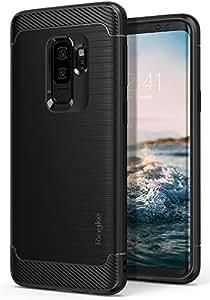 【Ringke】Galaxy S9 Plus ケース 対応 コスパ最高 ストラップホール TPU素材 スムーズケース 落下防止 スマホケース [軍用規格落下試験済み] 吸収耐衝撃カバー Qi充電対応 Onyx (Black/ブラック) S9 Plus ケース
