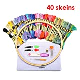 KING DO WAY 刺繍セット 刺しゅうツール 初心者 刺しゅう枠 刺しゅう糸40色 針 クロスステッチ 刺繍 手芸 編み物