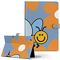 ARROWS Tab F-03G FUJITSU 富士通 アローズタブ タブレット 手帳型 タブレットケース タブレットカバー カバー レザー ケース 手帳タイプ フリップ ダイアリー 二つ折り アニマル 蜂 花 キャラクター f03g-004457-tb