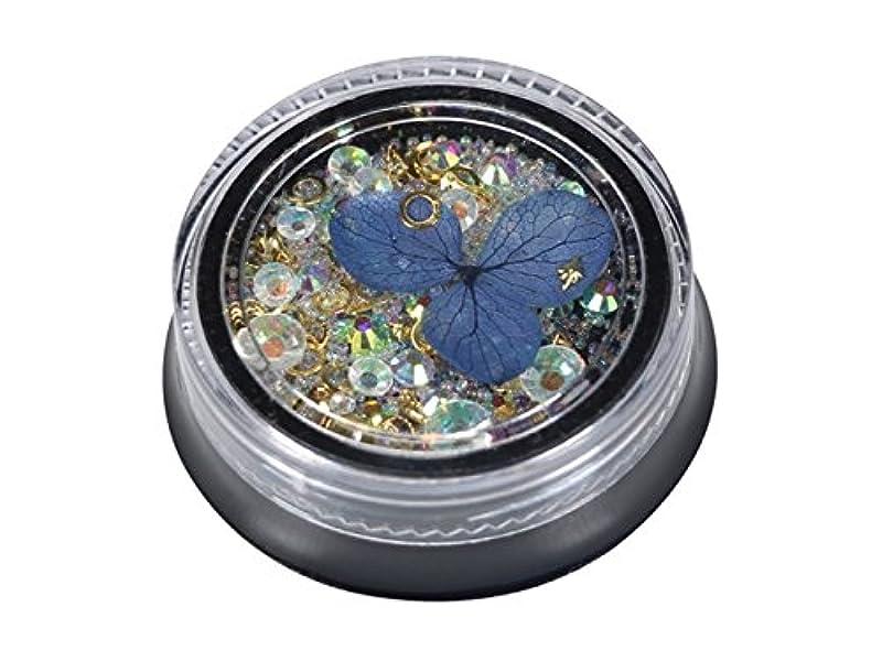 プランテーション銀すりOsize カラフルなネイルアートクリスタルラインストーンドライフラワーネイルステッカーキラキラケース(ブルー)
