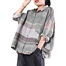 YESNO WA0 Women Casual Loose Blouse Button-Down Swing Shirts Gathered High Low Bat-Wing Sleeve