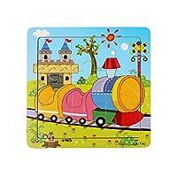 通話教育玩具 パズルおもちゃ 9ピース 木製 子供 ジグソーパズル 教育 学習パズル 玩具 救急車 カエル ビー/ハリネズミ/電車