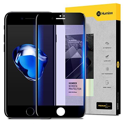 【Humixx】 iPhone8 ガラスフィルム iPhone7 ガラスフィルム [ ブルーライトカット 目の疲れ軽減 ] [ 9H硬度 0.3mm薄さ ] [ フルカバー 気泡防止 ] [ 代替品のガラスフィルム付き ] ( iPhone 8 iPhone 7 )( ブラック )