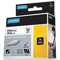 "Dymo DYM18055 Rhino 4200 Heat Shrink Tube Labels Tape, 1/2"" x 5 ft, White/Black Print"