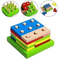 Greensun TM 16pcs /設定幾何図形組み立てビルディングブロック玩具カラフルな木製ブロック穴Pillars一致する建築教育玩具