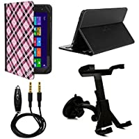 VanGoddy Mary 2.0 Standing Portfolio Case for Alcatel OneTouch Pixi 3 10-inch Tablet with Windshield Mount & Auxiliary Cable, Pink Checker [並行輸入品]
