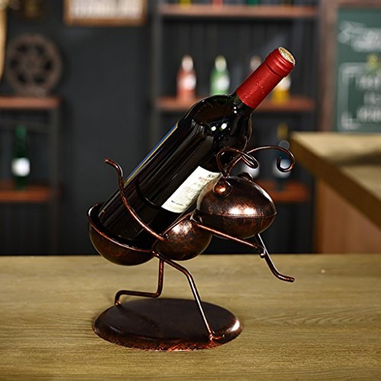 ワインホルダー レッドワインラックアイアンヴィンテージワインラックデコレーションバークリエイティブワインボトルラックリビングルームワインラックオーナメントワインクーラー ワインラック (色 : ブラス ぶらす)
