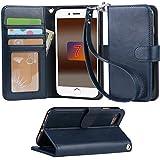 「Arae」 iphone 7 ケース 手帳型 iphone 7ケースRoHS規格認定書取得 iphone7 ケース スタンド機能付き iphone7ケース マグネット内蔵 アイホン 7 ケース ストラップ付き アイホン7 ケース 財布型 アイホン7ケース カードポケット付き アイホン 7ケース 耐衝撃(ブルーブラック)