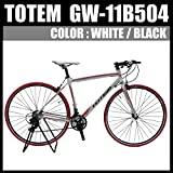 クロスバイク ロードバイク スポーツバイク 自転車 超軽量アルミフレーム 700C ダブルクイックハブ シマノ SHIMANO TOTEM トーテム 通勤通学 26インチ 11B504 700×480ホワイト