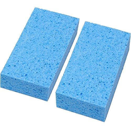日本製 吸水 速乾 セルロース お風呂掃除 バススポンジ ブルー 2個セット