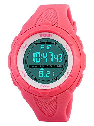 8864633127 SKMEI 腕時計 キッズ 見やすい スポーツ シンプル デジタル表示 30M防水 LED 日付 曜日 アラーム クロノグラフ プラスチックベルト  レッド