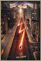"The Flash–TV Showポスター/印刷(都市景観) ( Size : 24"" x 36"" ) Brushed Champagne Aluminum Frame - 24"" x 36"""