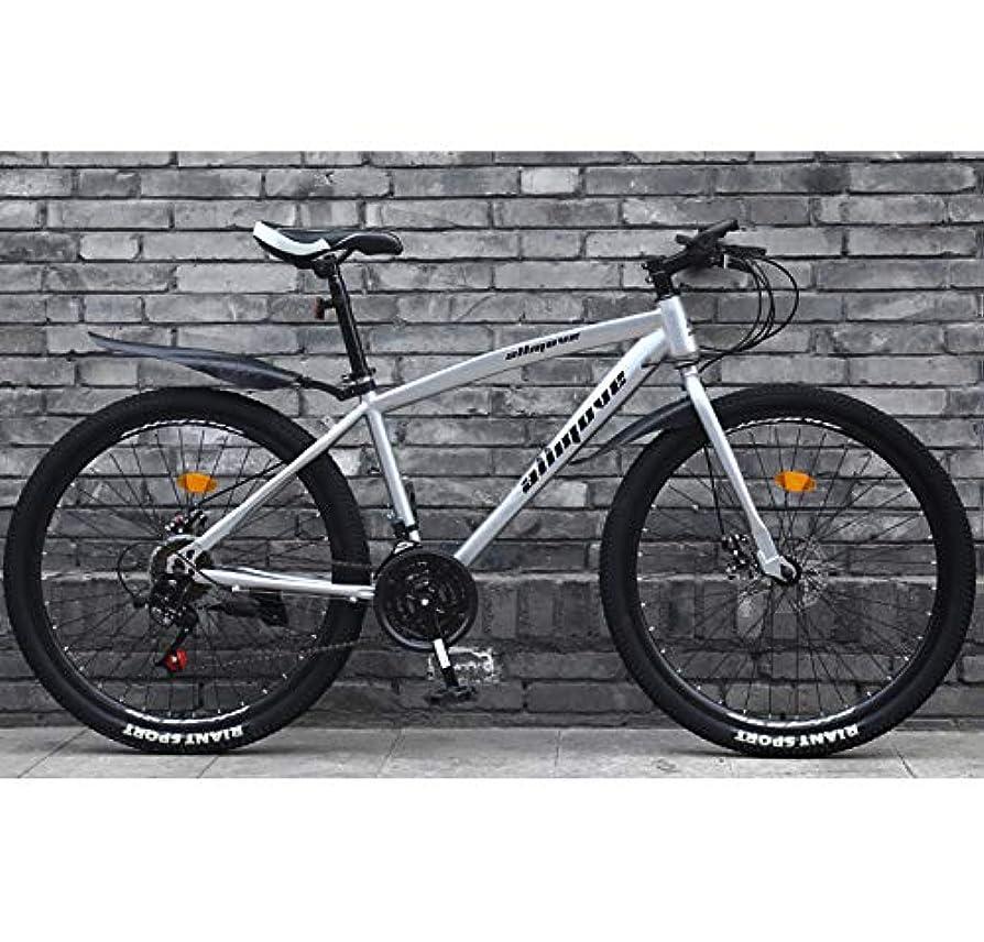 ご予約振動させる断片アダルトロードバイク26インチ男性レーシング自転車デュアルディスクブレーキ付き高炭素鋼フレームロード自転車シティユーティリティバイク,銀,21 Speed