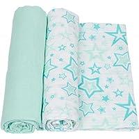 MiracleWare Muslin Swaddle Blanket, Aqua Stars, 2 Piece by MiracleWare