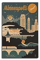 ミネアポリス、ミネソタ州–レトロSkyline 10 x 15 Wood Sign LANT-56053-10x15W