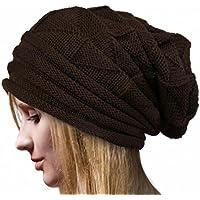 sothreadレディース冬用暖かいSlouchyニットウールビーニーChunky帽子Fold Flangingスキーキャップ Free Size CX-111