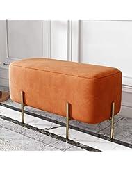 北欧ホームドア変更靴ベンチベッドエンドスツールスツールスツールライト高級クロークソファーベンチベンチベンチシューズベンチ - 90センチ (Color : Sauce Orange)