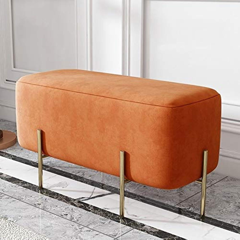考案するスパイラル最も北欧ホームドア変更靴ベンチベッドエンドスツールスツールスツールライト高級クロークソファーベンチベンチベンチシューズベンチ - 90センチ (Color : Sauce Orange)