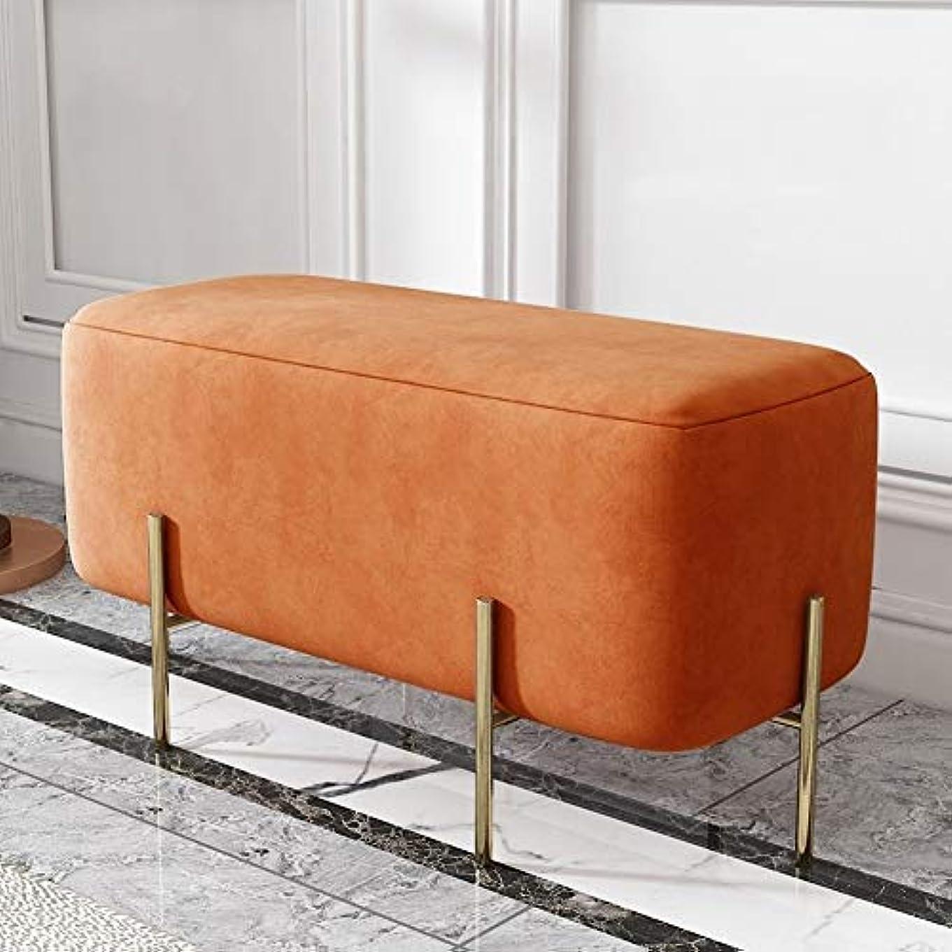 踏みつけ前提条件孤独な北欧ホームドア変更靴ベンチベッドエンドスツールスツールスツールライト高級クロークソファーベンチベンチベンチシューズベンチ - 90センチ (Color : Sauce Orange)