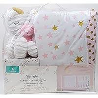 Starlight Unicorn & Stars Polka Dots Pink Gold White 4 piece Crib Bedding Set [並行輸入品]